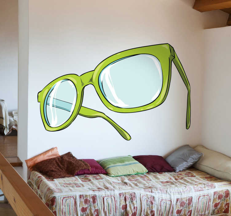 TenStickers. 녹색 안경 벽 스티커. 멋진 청록색 벽 스티커 컬렉션에서 한 쌍 또는 녹색 안경의 독창적 인 그림으로 세련된 외관을 제공합니다.