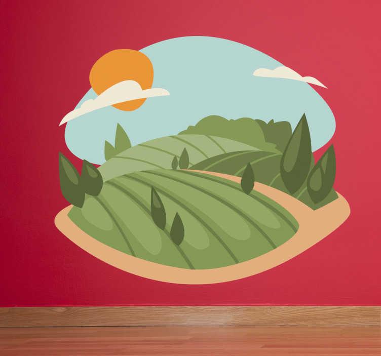 TenVinilo. Vinilo decorativo ilustración campos. Pegatina con un dibujo de un paisaje rupestre con cosechas y colinas.