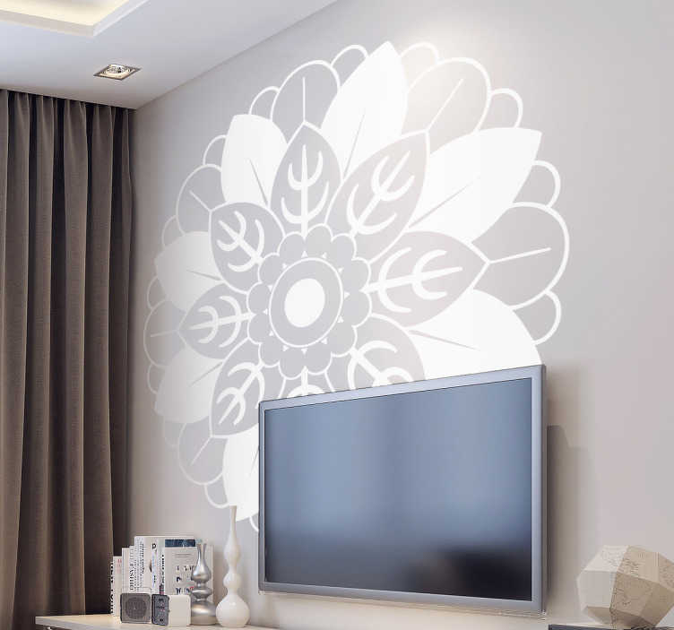TenStickers. Floral Mandala Wall Decal. Decals - Asian inspired geometric shape plant. Distinctive feature in any room. Available in various sizes and in 50 colours.