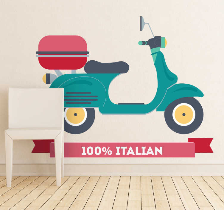 TenStickers. Sticker moto italian. Stickers d'inspiration vintage représentant un scooter Vespa mettant en avant sont origine 100% italienne.
