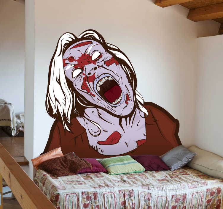 TenStickers. Zombie Woman Wall Decal. A vinyl sticker of a zombie that is fascinating and scary at the same time. A decorative decal that everyone zombie fan will love!