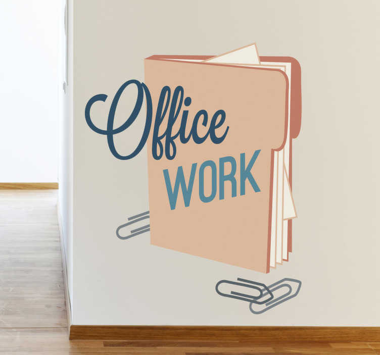 TenStickers. Office Work Icon Sticker. Superb icon wall sticker illustrating a folder with clips full of documents from the office! Great vinyl decal to decorate your office.