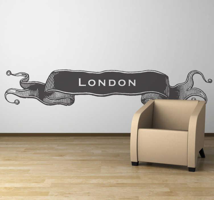 """TenStickers. Autocollant mural vintage London. Banderole murale adhésive avec l'inscription """"London"""". Personnalisez et adaptez le stickers à votre surface en sélectionnant les dimensions de votre choix."""