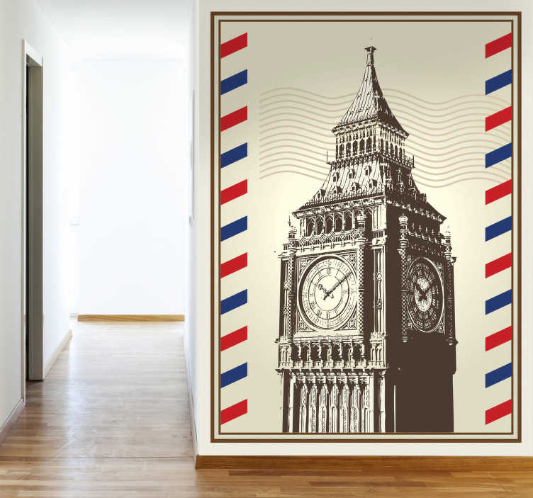 TenStickers. 伦敦大笨钟墙贴纸. 代表伦敦着名大本钟的明信片贴花。来自伦敦墙贴的设计。位置贴纸很容易申请。