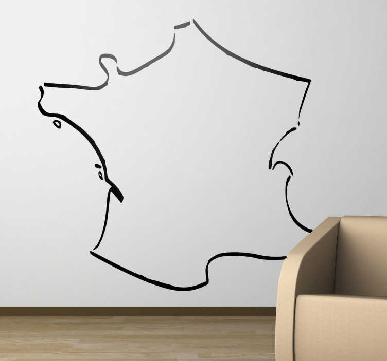 TenVinilo. Vinilo decorativo silueta línea Francia. Original adhesivo con el perfil de este país europeo con París como capital.