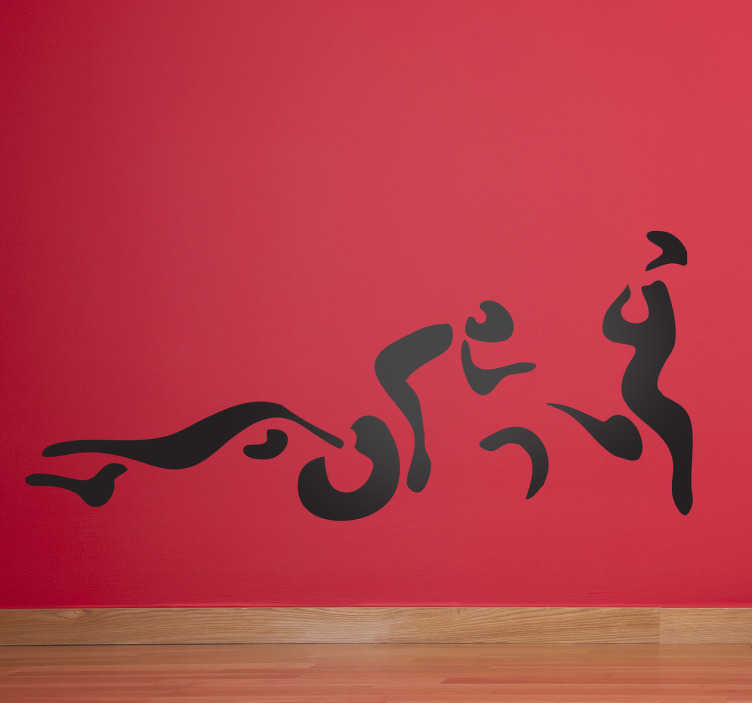 TenStickers. 트라이 애슬론 실루엣 벽 스티커. 스포츠 스티커 - 세 연속 등 다단계 스포츠; 순차적 지구력 훈련; 수영, 사이클링 및 러닝. 단색 벽 스티커는 다양한 색상과 크기로 제공됩니다.