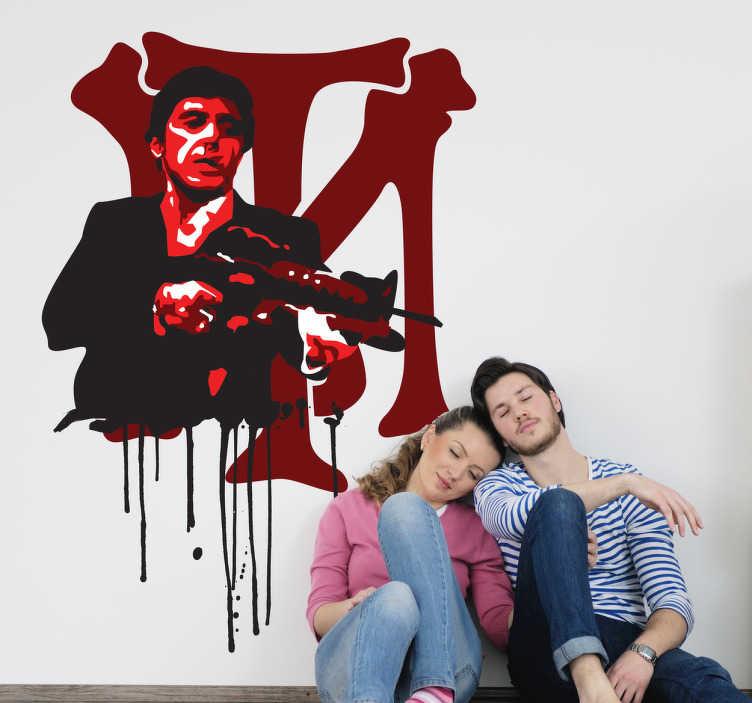 TenVinilo. Vinilo decorativo Tony Montana sangre. Adhesivo con las siglas de este famoso mafioso de nombre Scarface interpretado por Al Pacino.