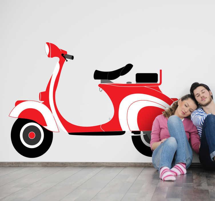 TenStickers. Naklejka czerwony skuter. Naklejka dekoracyjna na ścianę przedstawiająca czerwony skuter, który jest najlepszem środkiem transportu w zatłoczonych włoskich miastach.