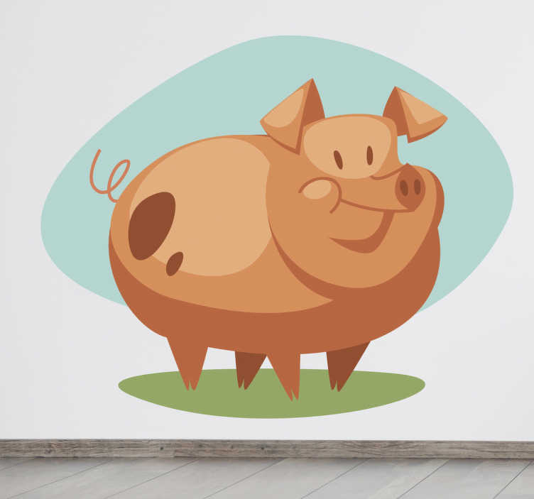 TenStickers. Kids Porky Pig Wall Sticker. Kids Wall Stickers - Playful and fun illustration of jolly happy pig. Ideal for decorating areas for children.