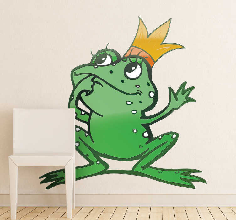 TenStickers. Kids Queen Frog Wall Sticker. Kids Wall Stickers - Playful and fun illustration of a lady frog with long eye lashes and a golden crown. Ideal for decorating areas for children.