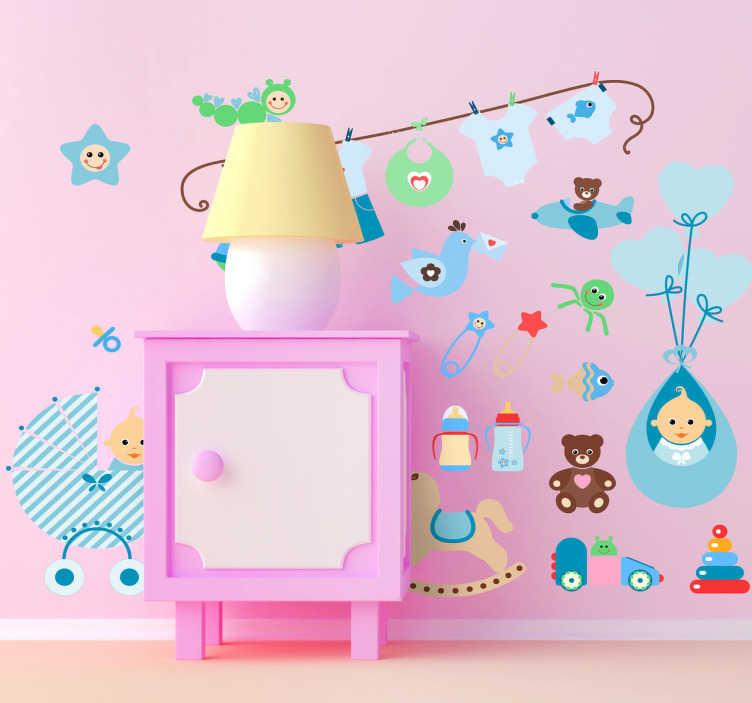 TenStickers. Pack Vinis Infantis Mundo Divertido. Conjunto de vinis infantis decorativos para decorar o quarto dos seus filhos, com este conjuntos pode criar um espaço acolhedor e atrativo.