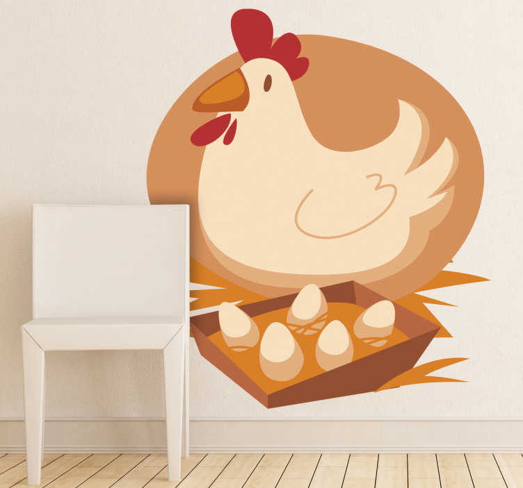 TenStickers. Kids Hen & Eggs Wall Sticker. Kids Wall Stickers -  Colour illustration of a barnyard hen and her eggs. Ideal for decorating areas for children.