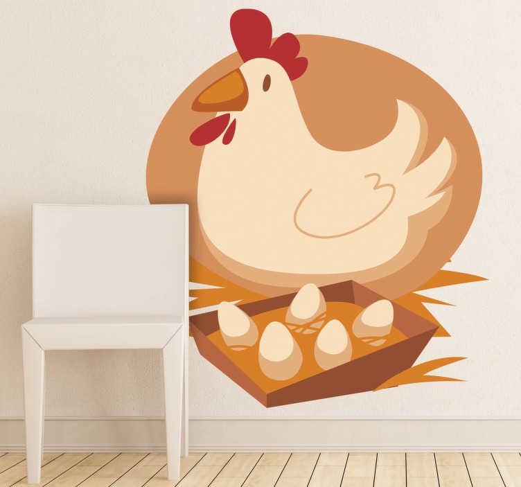 TenStickers. 어린이 암탉 & 계란 벽 스티커. 아이 벽 스티커-앞 마당 암탉과 그녀의 계란의 컬러 일러스트. 어린이 공간 장식에 이상적입니다.