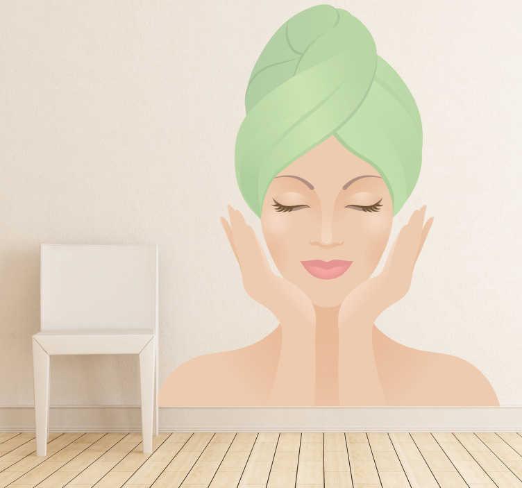 TenVinilo. Vinilo decorativo belleza facial. Fotomural de bella mujer con toalla en la cabeza. Símbolo de belleza para decorar espacios y negocios dónde se cuida la imagen y el cuerpo.