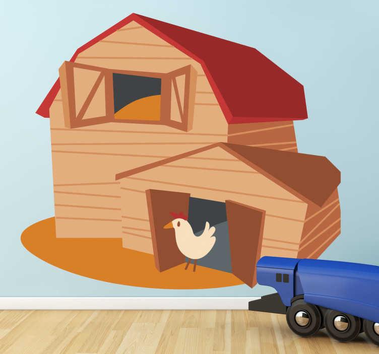 TenStickers. Naklejka dekoracyjna stodoła i kura. Naklejka dekoracyjna przedstawiająca stodołę i wychodzącą z niej kurę.