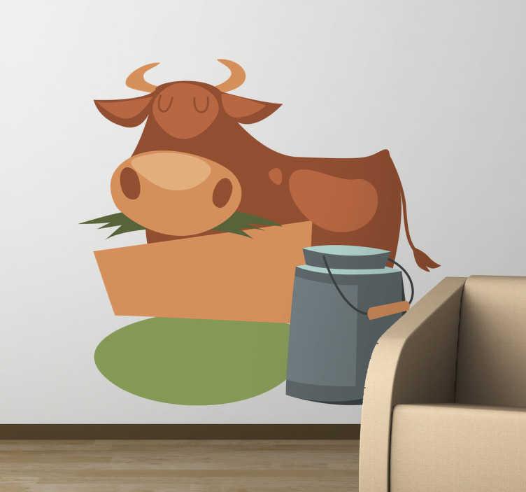TenStickers. Muursticker kind melkkoe. Deze muursticker omtrent een koe in een vriendelijk uiterlijk. Met vrolijke kleuren is deze sticker ideaal ter wanddecoratie voor kinderen.