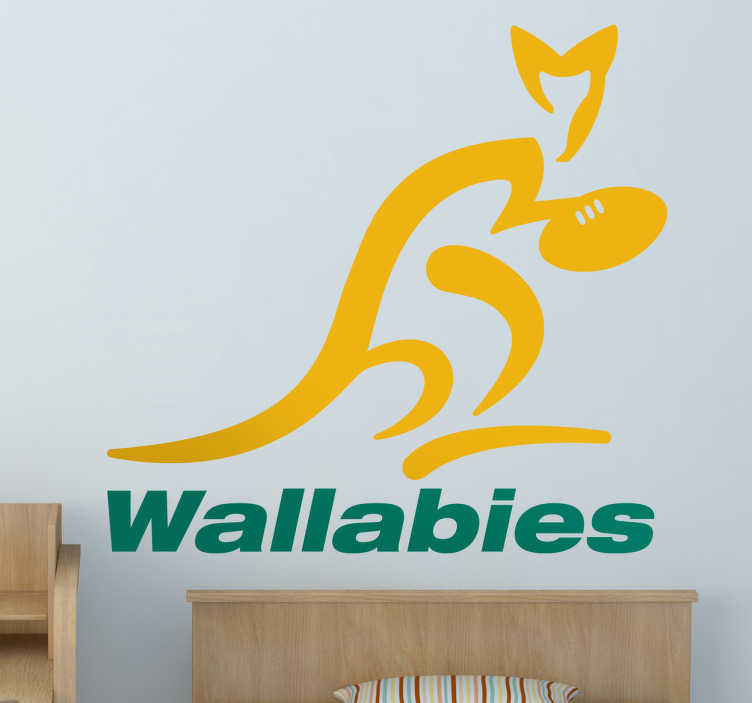 TenStickers. Wallabies Australia Wall Sticker. Rugby - The logo of the Australian national rugby union team. Ideal for fans and supporters. Available in various sizes.