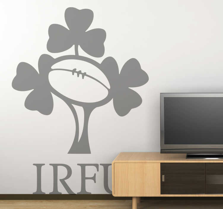 TenStickers. Ireland Rugby Team IRFU Sticker. Rugby - Logo illustration of the Irish national rugby union team, who compete annually in the Six Nations Championship
