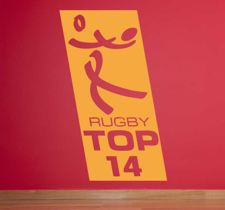 TenVinilo. Vinilo decorativo logo top 14. Adhesivo con el emblema de una de las ligas de rugby más potentes del mundo: la francesa.