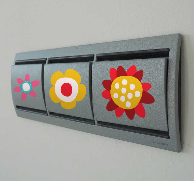 TenStickers. Flowers Switch Stickers. A great collection of six floral stickers to decorate your light switches, plug sockets and other small spaces at home! Personalise your home with this light switch decal set that is super easy to apply. Brilliant design that the little ones will love.