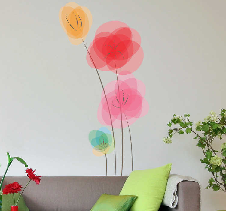 TenVinilo. Vinilo decorativo amapolas de colores. Elegante adhesivo para decorar las paredes de tu hogar con motivos vegetales. Fantásticas flores coloridas en formato vinilo