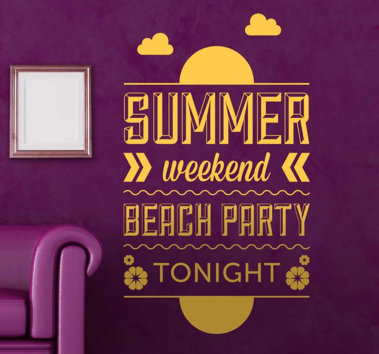 TenStickers. Naklejka dekoracyjna Beach Party. Naklejka dekoracyjna, która przedstawia jednokolorowy tekst po angielsku, dotycznący przyjęcia na plaży.