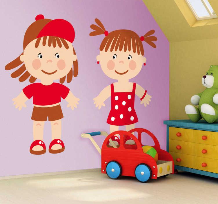 TenStickers. Sticker kinderen rood. Een leuk en vrolijk ontwerp van 2 kinderen gekleed in het rood. Deze muursticker past ideaal in de slaapkamer van uw zoon of dochter.