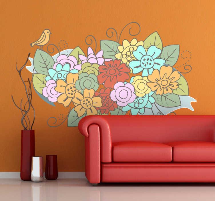 Autocollant mural bouquet de fleurs pastel