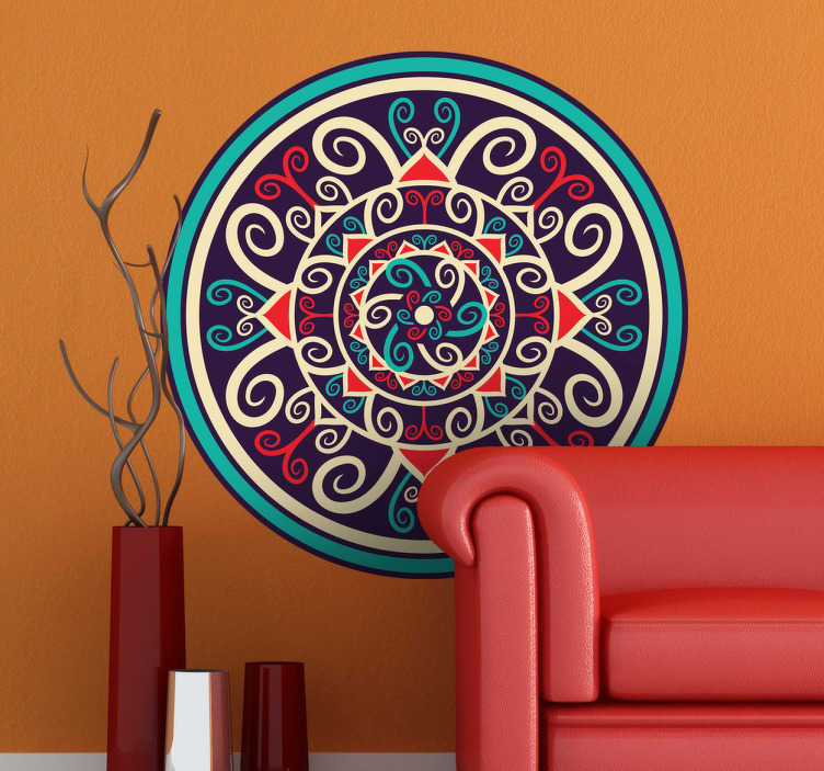TenStickers. Rosette Round Wall Sticker. Decals - Symmetrical interlaced circle pattern design. Available in various sizes and in 50 colours. Wall stickers made from high quality vinyl.