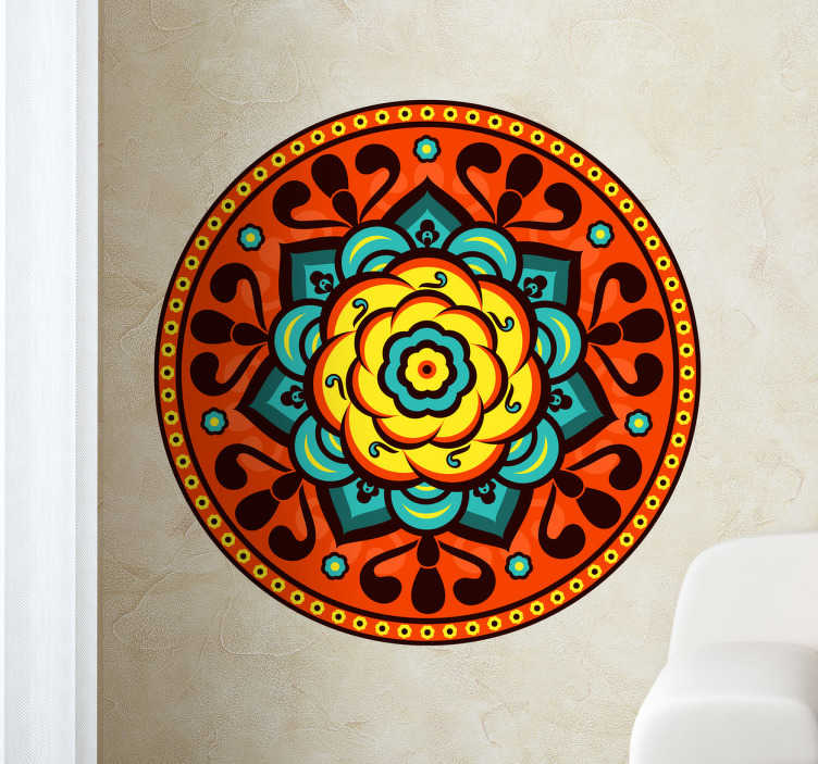 TenStickers. Florist Rosette Wall Sticker. Decals - Symmetrical orange and turquoise interlaced circle pattern design. Available in various sizes. Wall stickers.