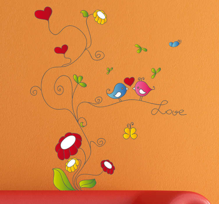 TenStickers. Naklejka dekoracyjna kwiatowa gałąź love. Naklejka dekoracyjna przedstawiająca kwiat z którego wychodzą fantazyjne pędy i liście oraz dwa małe ptaszki które przysiady na gałęzi.