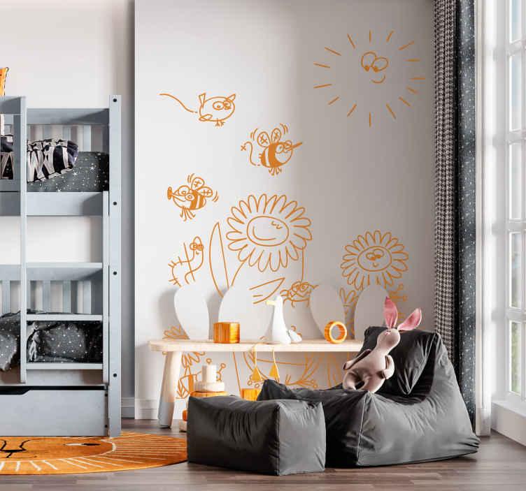 TenStickers. Naklejka dla dzieci łąka. Naklejka na ścianę przedstawiająca łąkę podczas wiosny. Znajdziesz tu między innymi: kwiaty, pszczołę, żabę... Obrazek dostępny jest w różnych kolorach.
