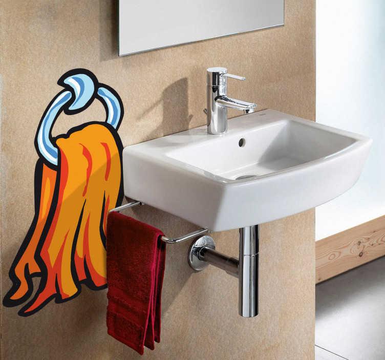 TenStickers. Sticker decorativo asciugamano. Adesivo murale che raffigura un asciugamano arancione appeso al suo anello. Un'idea originale per decorare il bagno.