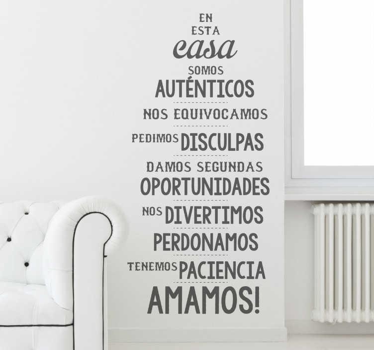 TenVinilo. Vinilo decorativo para pared de casa. Adhesivo especial hecho por Xavier Riera (VIRGUIS) con un popular decálogo de normas positivas para la convivencia.
