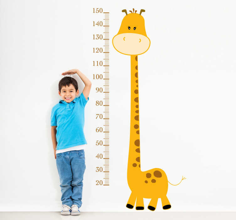yellow giraffe height chart kids sticker - tenstickers