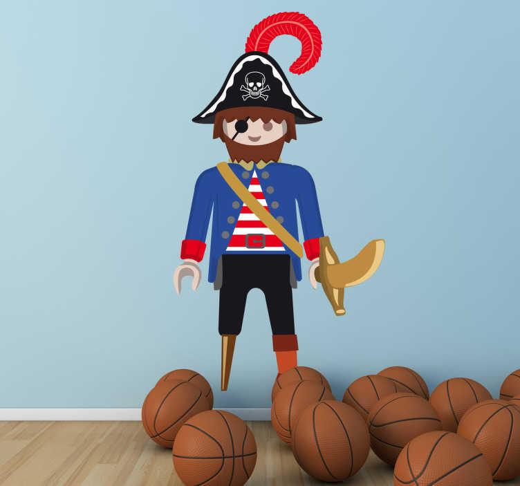 TenStickers. Sticker Piraat Playmobil. Een sticker van ons collectie van piraat muurstickers ter illustratie van een piraat van Playmobil. Ontworpen door VIRGUIS.