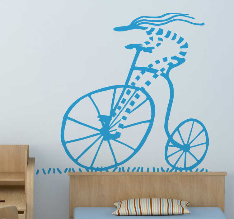 TenStickers. Penny Farthing Cyclists Sticker. Original drawing by cartoonist Pierino Gallucci of a character driving this classic bicycle at full speed.