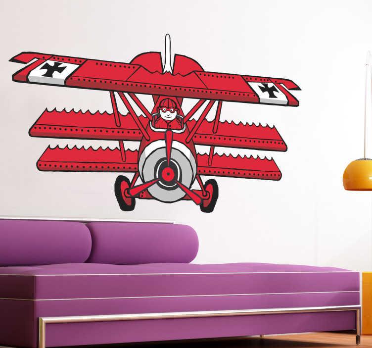 TenStickers. Kırmızı baron komik çocuklar çıkartması. Bu büyük çift kanatlı çıkartma ile çocuğunuzun odasını dekore edin! Kırmızı duvar çıkartmaları koleksiyonumuzdan bir tasarım. 50 renkte mevcuttur.