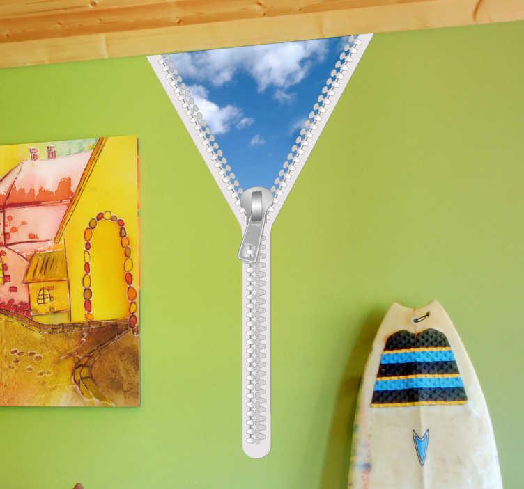 TenStickers. Autocollant mural glissière ciel. Sticker mural représentant une fermeture éclair ou glissière laissant apparaître un ciel bleu. Idéal pour apporter un peu d'originalité à la chambre vos enfants. Sticker original réalisé tout spécialement par Pierino Gallucci pour Tenstickers.