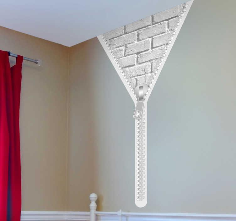 TenStickers. Reißverschluss Steinwand Aufkleber. Dekorieren Sie Ihre Wand mit diesem ausgefallenen Reißverschluss Wandtattoo, das die Sicht auf eine weiße Ziegelstein Wand ermöglicht.