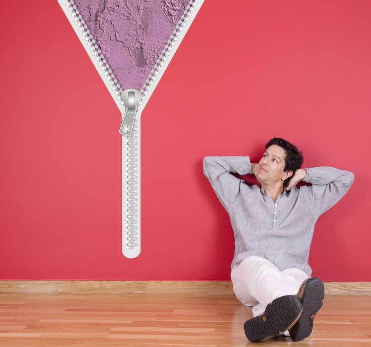 TenStickers. Reißverschluss rosa Wand Aufkleber. Dieses Design wurde vonPierino Galluccientworfen. Verleihen Sie Ihrer Wand mit diesem Wandtattoo eine besondere Note!
