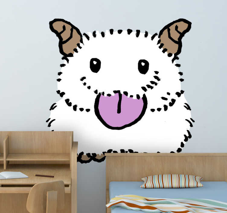 TenStickers. Hairy Animal Kids Sticker. A fantastic animal wall sticker illustrating a cute white animal with long hair. Great children's decal to create a fun atmosphere.