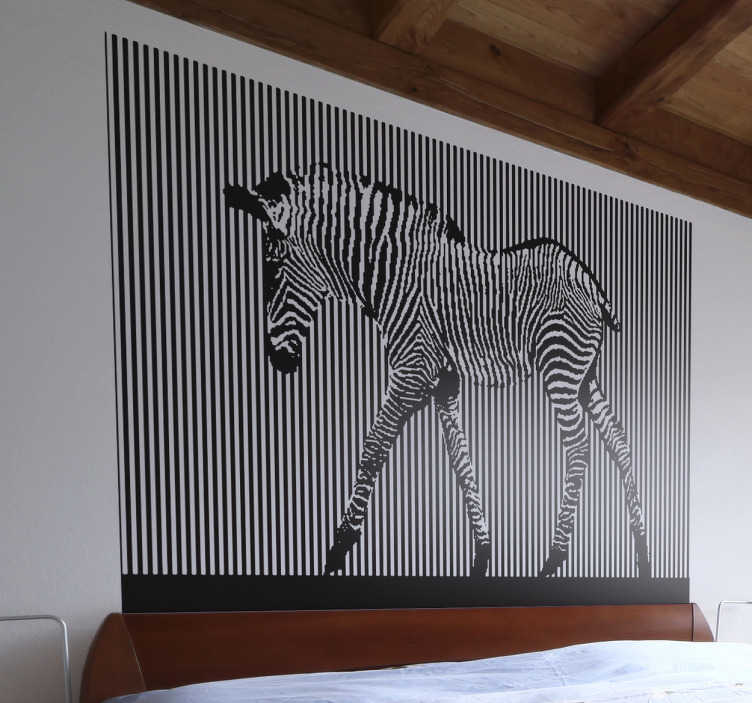 TenStickers. Vinil Decorativo Foto Mural Zebra. Vinil decorativo com foto mural de uma zebra em fundo listado, um vinil decorativo moderno super irreverente, perfeito para dar um novo ar à sua casa.