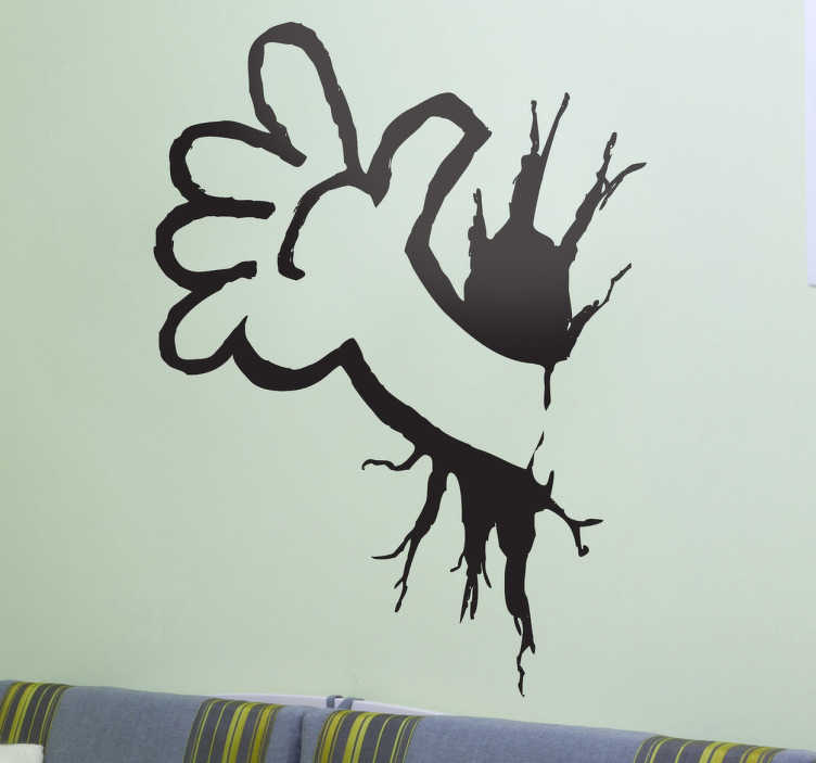 TenStickers. Hand Through Wall Sticker. Original mono-colour sticker with a drawing by artist Pierino Gallucci.