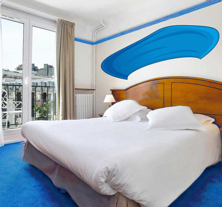 TenStickers. Sticker béret. Un grand béret de couleur bleue pour décorer votre intérieur et lui donner une french touch. Choisissez vos dimensions personnalisées.