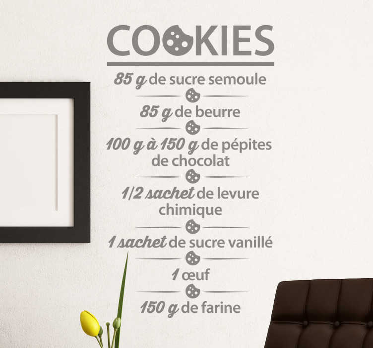 TenStickers. Autocolante decorativo cookies receita. Autocolante decorativo com a receita das famosas bolachas de manteiga francesas.