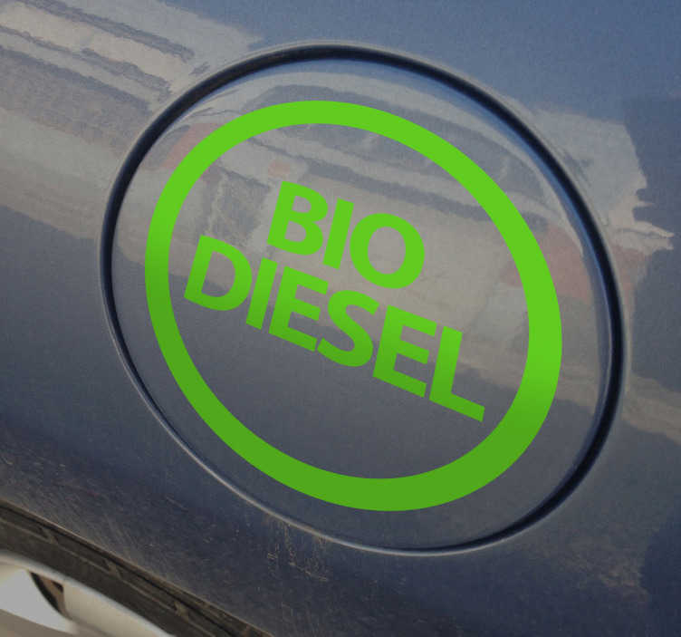 """Tenstickers. Biodieselin auton tarra. Upea autoteline, joka kuvaa """"biodieselin"""" logoa autosi koristamaan! Täydellinen muistuttaa itsellesi, mitä polttoainetta tarvitset!"""