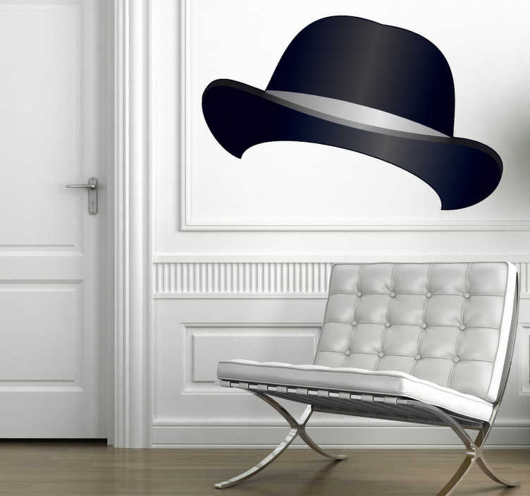 TenStickers. Bowler Hat Wall Sticker. Room Stickers - Classic bowler hat illustration design.Original decals available in various sizes to best suit your decor.