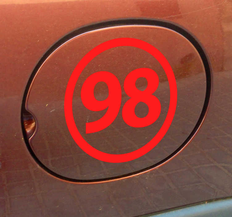 TenStickers. Unleaded 98 Vehicle Sticker. A decorative car decal to help you remember which fuel you use for your car. Brilliant to give your vehicle and original appearance.