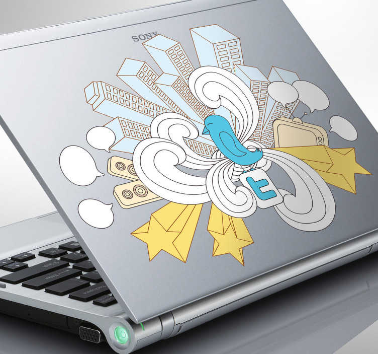 TenStickers. Twitter City Laptop Sticker. Laptop Stickers - Illustration ideal for active Twitter users.
